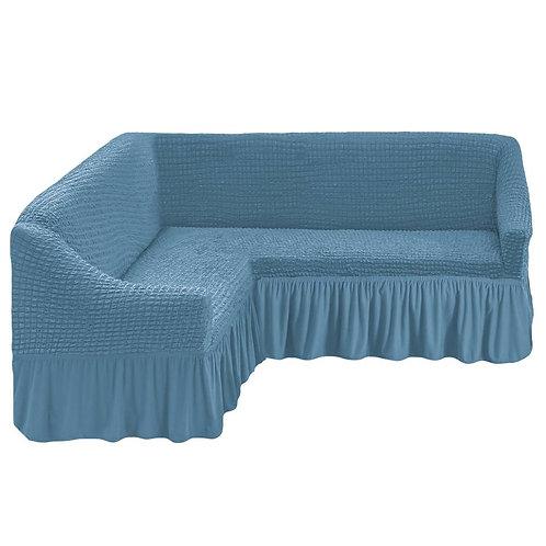 На угловой диван с оборкой. Цвет: серо-голубой