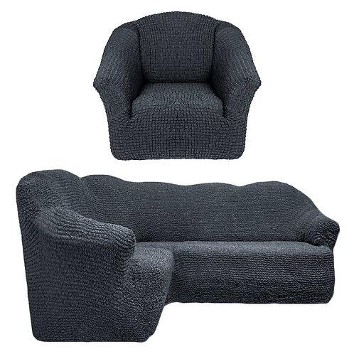 На угловой диван и кресло без оборки. Цвет: антрацит