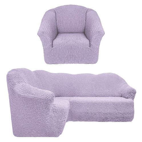 Чехол на угловой диван и кресло без оборки. Цвет: светло-лиловый