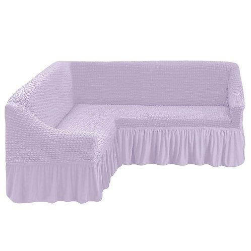Чехол на угловой диван с оборкой. Цвет: светло-лиловый