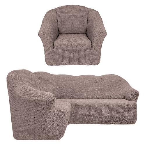 На угловой диван и кресло без оборки. Цвет: какао