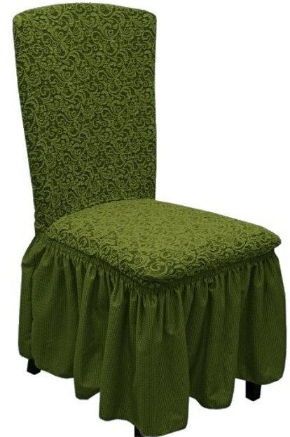 Комплект чехлов на стулья жаккард. Цвет: зелёный