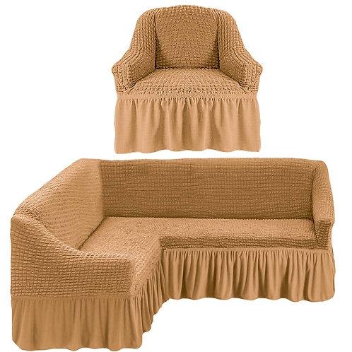 На угловой диван и кресло с оборкой. Цвет: медовый