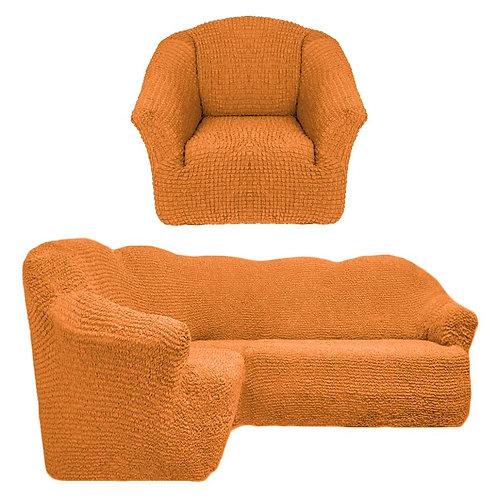 На угловой диван и кресло без оборки. Цвет: рыже-коричневый