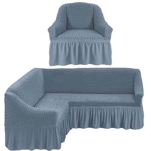 На угловой диван и кресло с оборкой. Цвет: серый