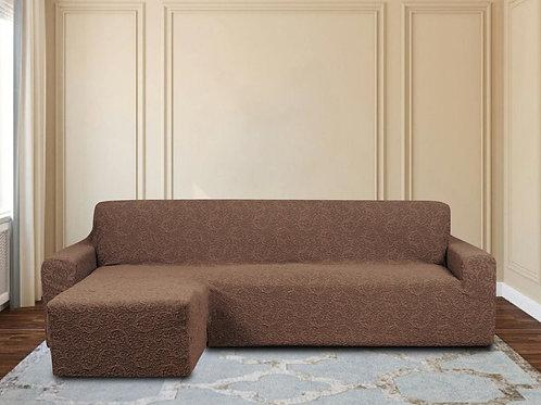 На диван с оттоманкой жаккард. Цвет: коричневый.
