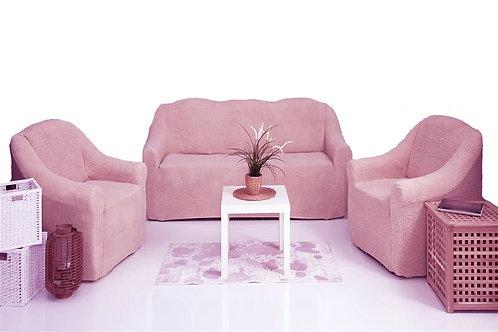 """Комплект чехлов """"Плюш"""" без оборки. Цвет: розовый"""