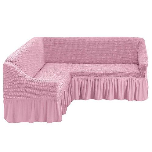 На угловой диван с оборкой. Цвет: розовый