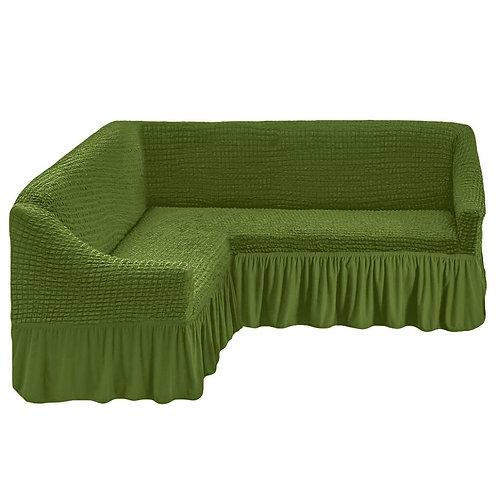 На угловой диван с оборкой. Цвет: оливковый