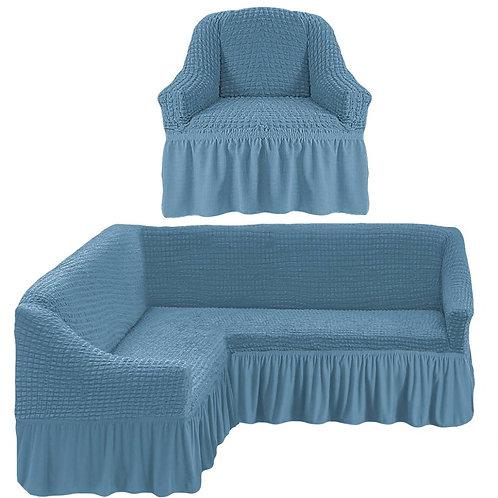 На угловой диван и кресло с оборкой. Цвет: серо-голубой