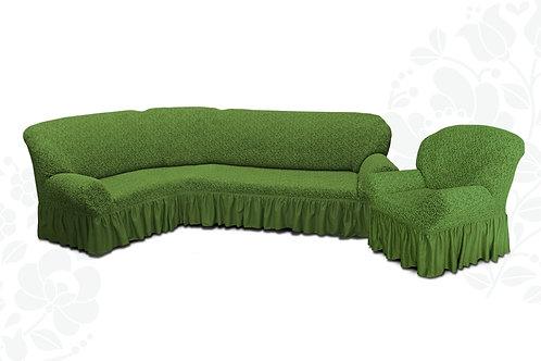 На угловой диван и кресло жаккард. Цвет: зелёный