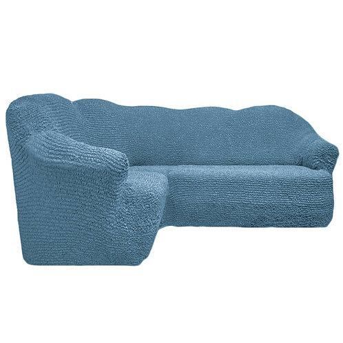На угловой диван без оборки. Цвет: серо-голубой