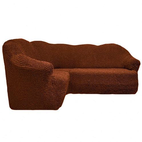 На угловой диван без оборки. Цвет: коричневый