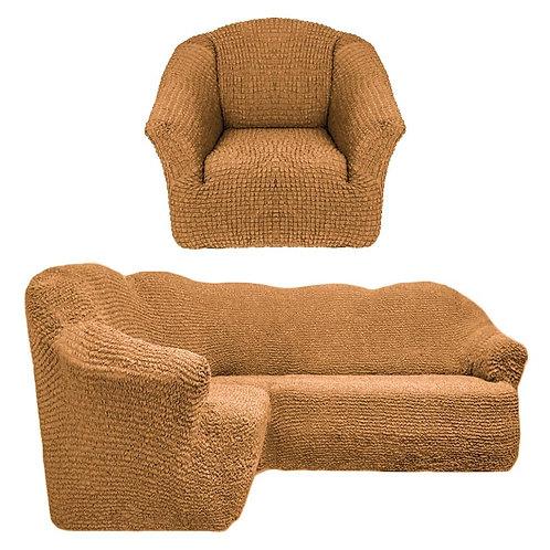 На угловой диван и кресло без оборки. Цвет: горчичный