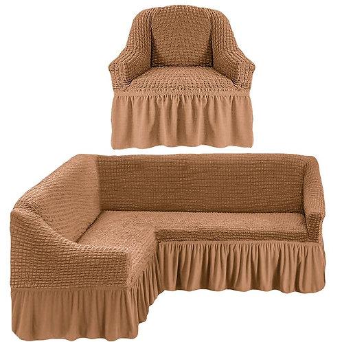 На угловой диван и кресло с оборкой. Цвет: песочный
