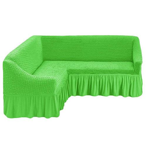На угловой диван с оборкой. Цвет: салатовый
