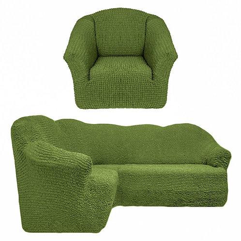 На угловой диван и кресло без оборки. Цвет: оливковый