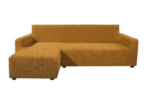На диван с оттоманкой. Цвет: горчичный.