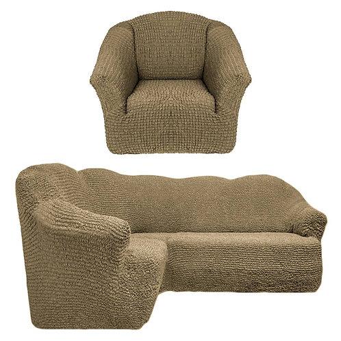 На угловой диван и кресло без оборки. Цвет: хаки