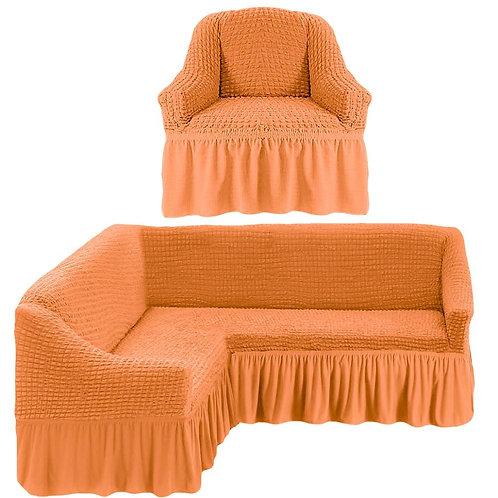 На угловой диван и кресло с оборкой. Цвет: оранжевый