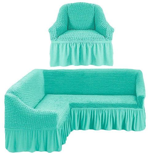 На угловой диван и кресло с оборкой. Цвет: мятный