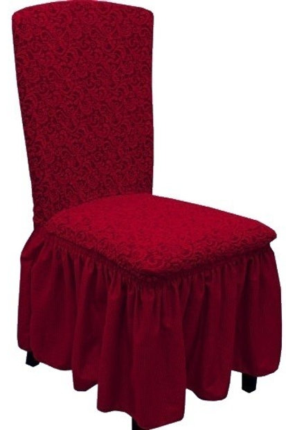 Комплект чехлов на стулья жаккард. Цвет: бордовый