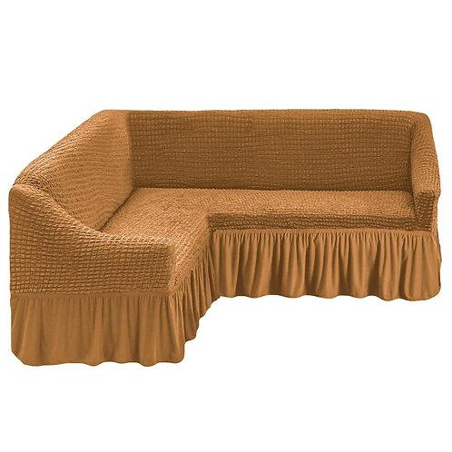 На угловой диван с оборкой. Цвет: горчичный