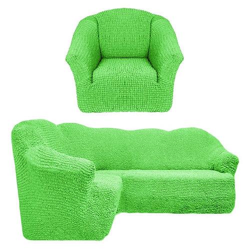 На угловой диван и кресло без оборки. Цвет: салатовый