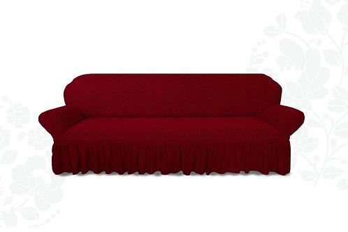 На диван жаккард с оборкой. Цвет: бордовый