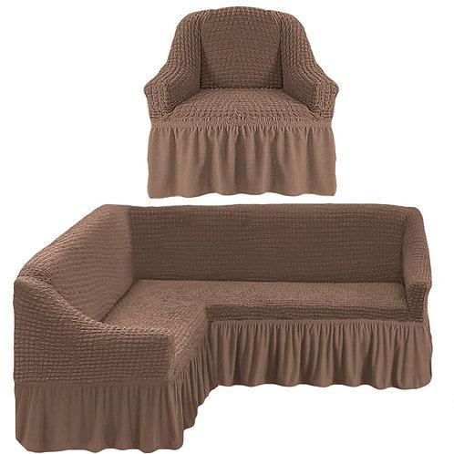 На угловой диван и кресло с оборкой. Цвет: серо-коричневый