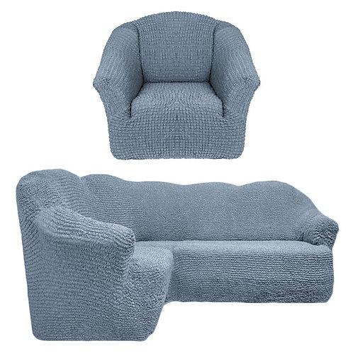 На угловой диван и кресло без оборки. Цвет: серый