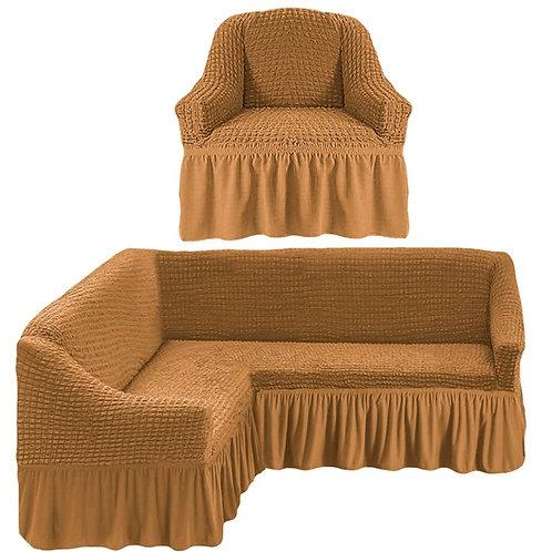 На угловой диван и кресло с оборкой. Цвет: горчичный