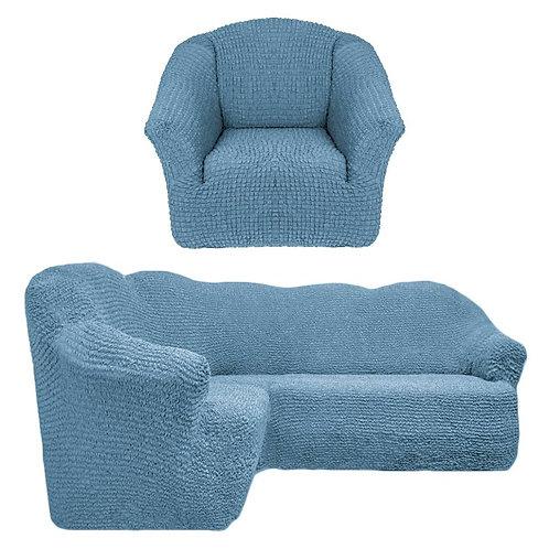 На угловой диван и кресло без оборки. Цвет: серо-голубой
