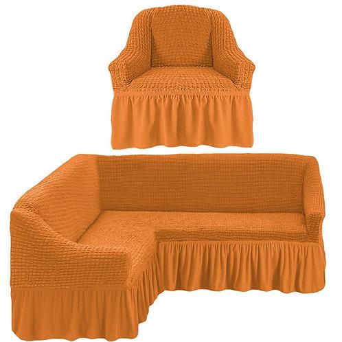 На угловой диван и кресло с оборкой. Цвет: рыже-коричневый