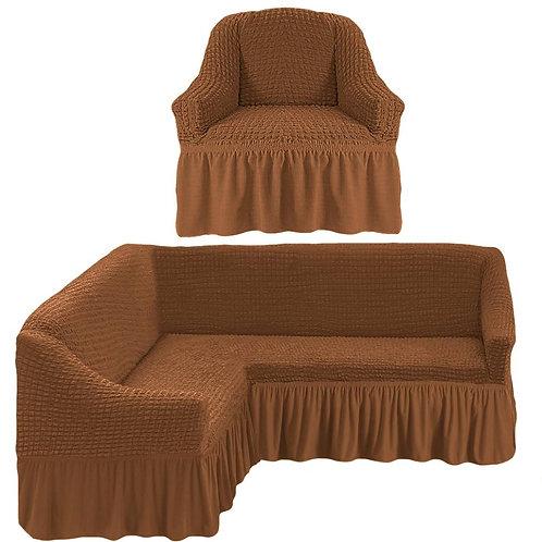 На угловой диван и кресло с оборкой. Цвет: светло-коричневый