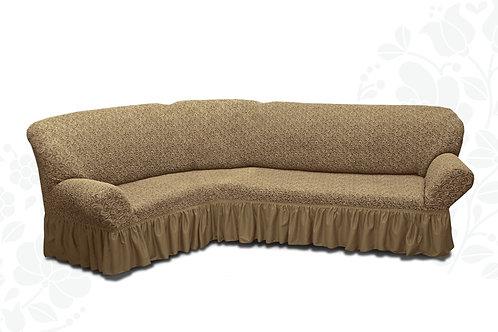 На угловой диван жаккард с оборкой. Цвет: капучино