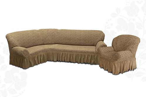 На угловой диван и кресло жаккард. Цвет: капучино