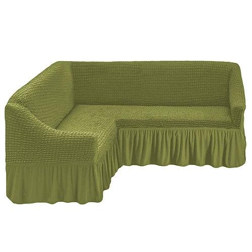 На угловой диван с оборкой. Цвет: фисташковый