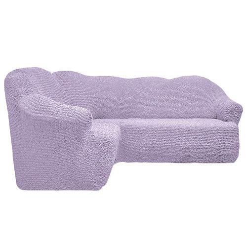 Чехол на угловой диван без оборки. Цвет: светло-лиловый