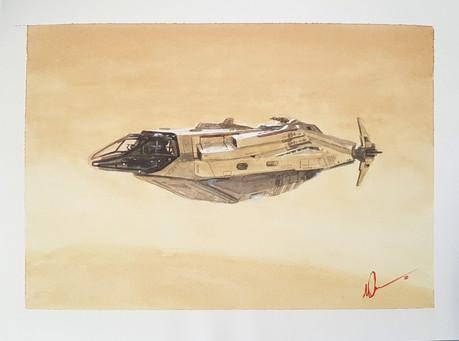 Anvil Carrack over desert planet
