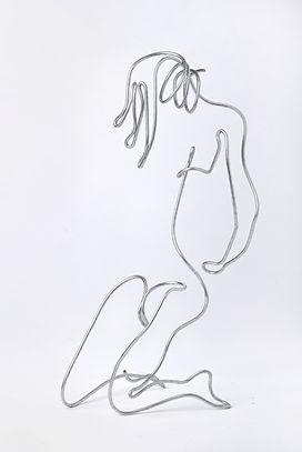 Girl Kneeling. single wire thread. Wire sculpture. Wire Art by Arik Afek