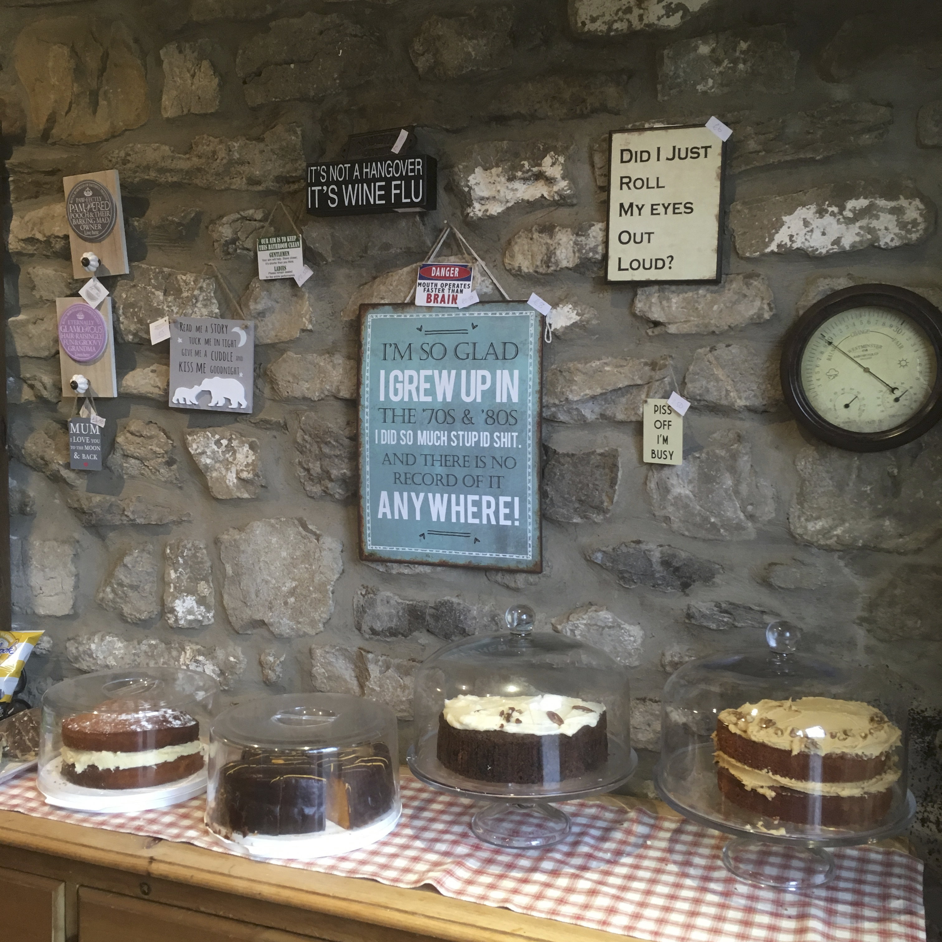 Cakes and signs for sale