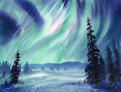 Vladimir Zhikhartsev #8  SWAYING AURORA LIGHTS, ALASKA (unframed)