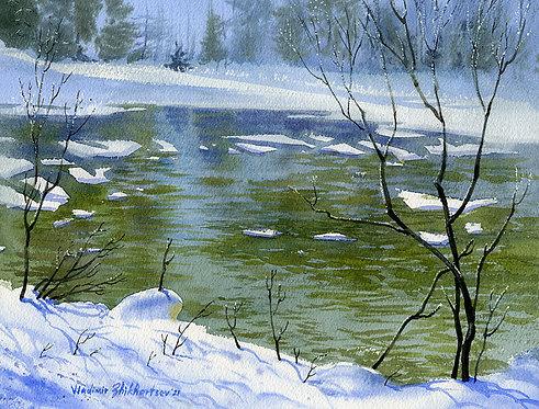 SPRING BREAKUP, ALASKA original watercolor(unframed)