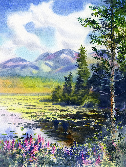 POTTER'S MARSH, ANCHORAGE original watercolor(unframed)