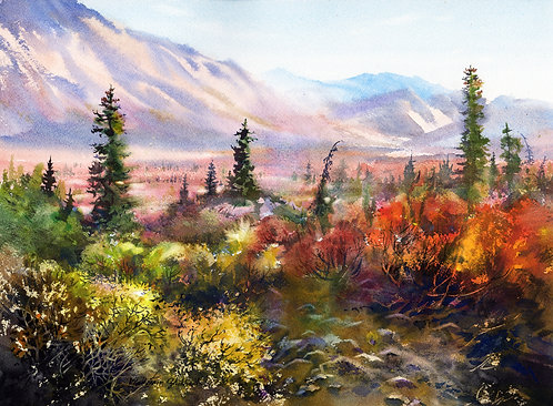FALL IN DENALI. ALASKA original watercolor(unframed)