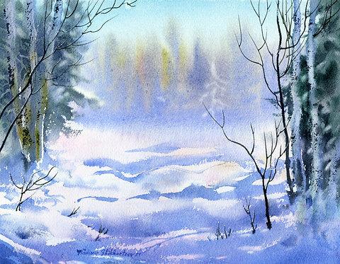 MARCH LIGHT, ALASKA original watercolor(unframed)
