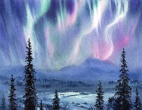 LIGHT SHOW, ALASKA original watercolor(unframed)