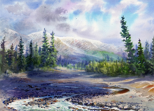 TERMINATION DUST IN DENALI original watercolor (unframed)