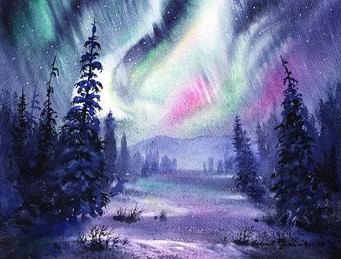 FEBRUARY NIGHT, ALASKA original watercolor(unframed)